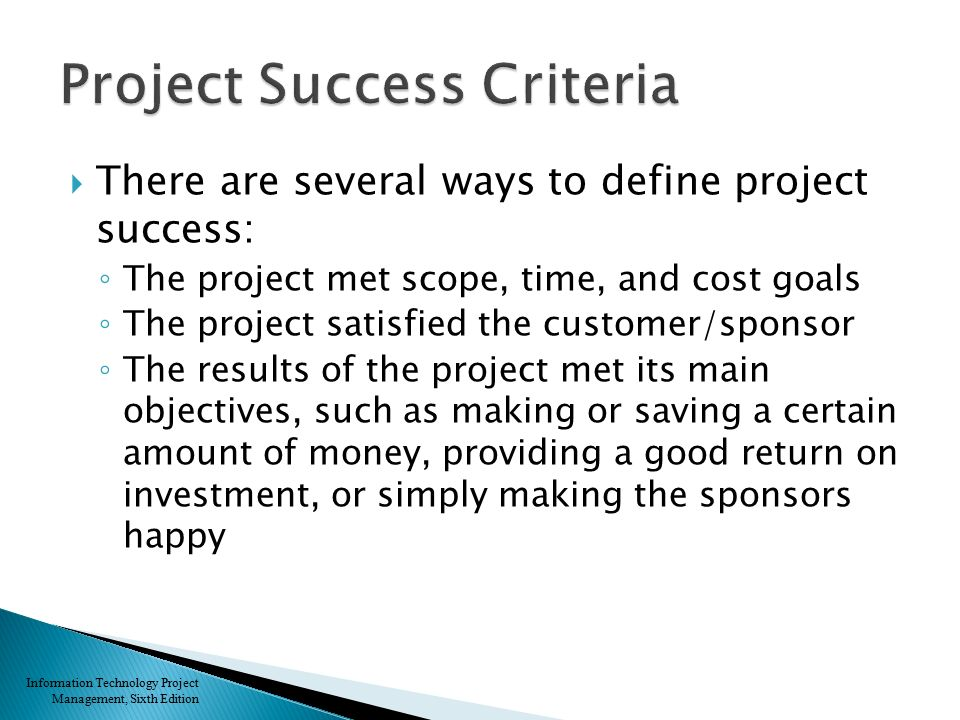 Criteria for the project success management essay