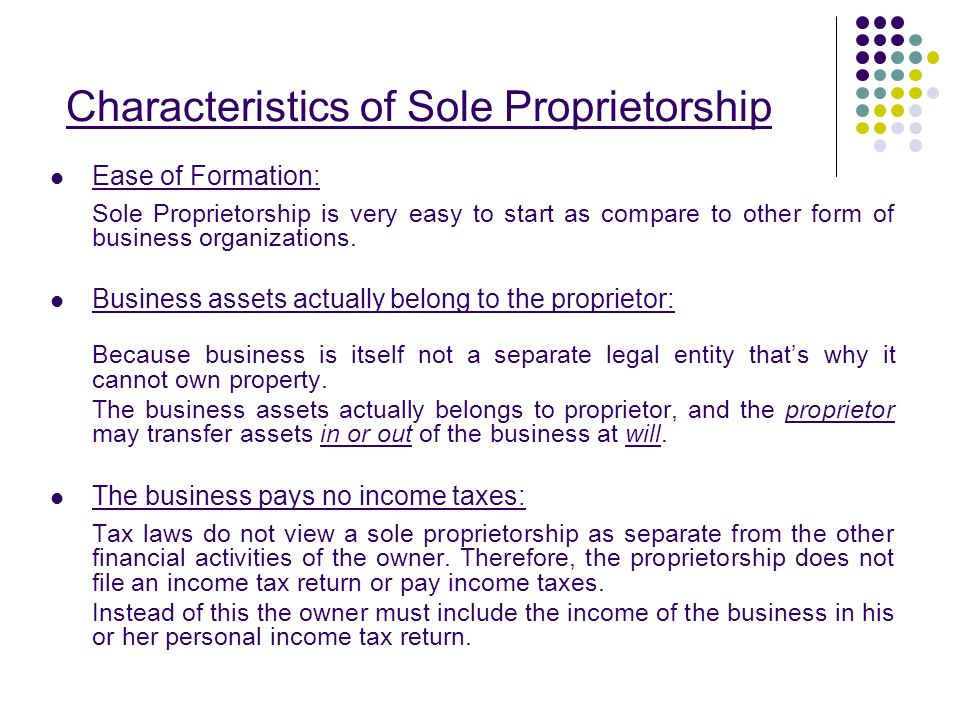 scenarios for sole proprietorship In these situations, particular attention should be given to basis issues  a sole  proprietorship or single member llc (smllc) has one owner.