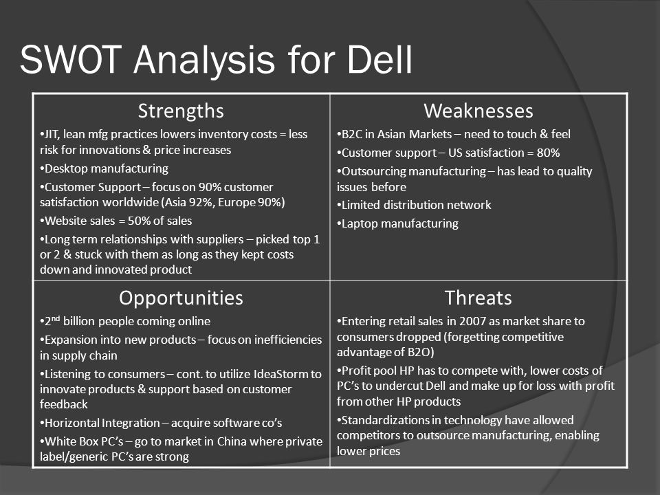 opportunity and threat of dell Swot analysis is an analytical method, which is used to identify and categorise significant internal factors (ie strengths and weaknesses) and external factors (ie opportunities and threats) an organisation faces.