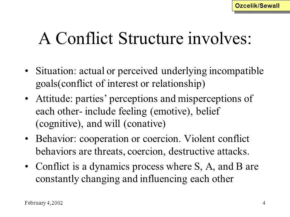 A Conflict Structure involves:
