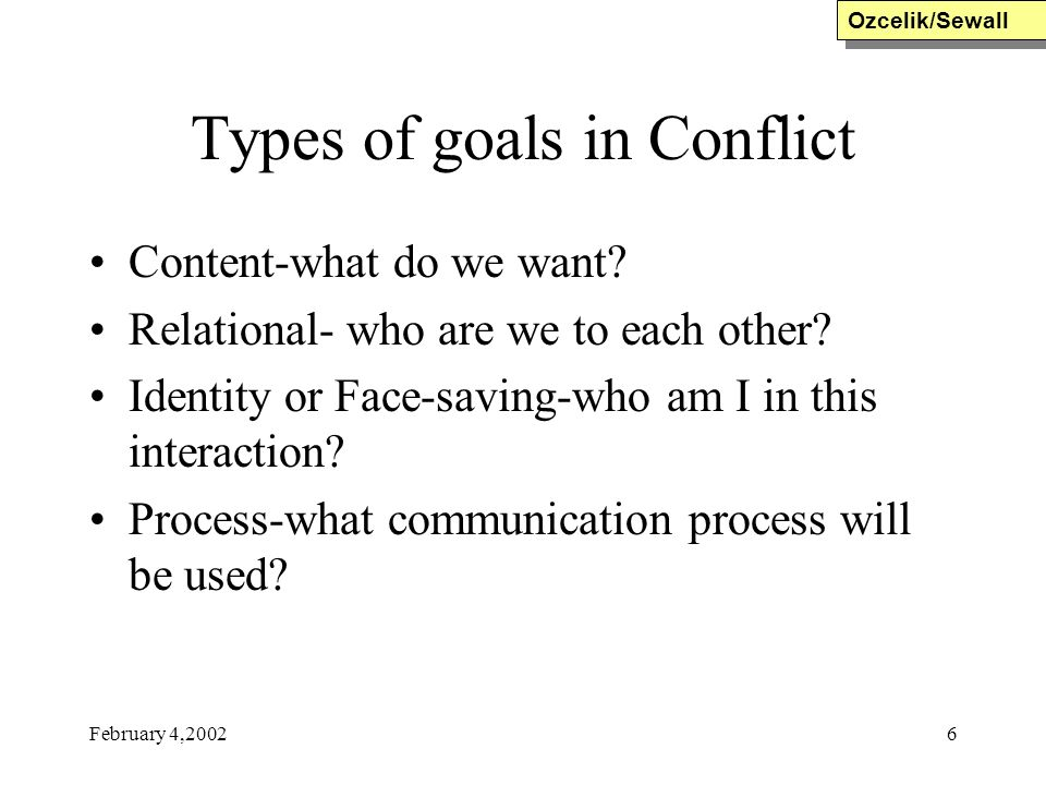Types of goals in Conflict