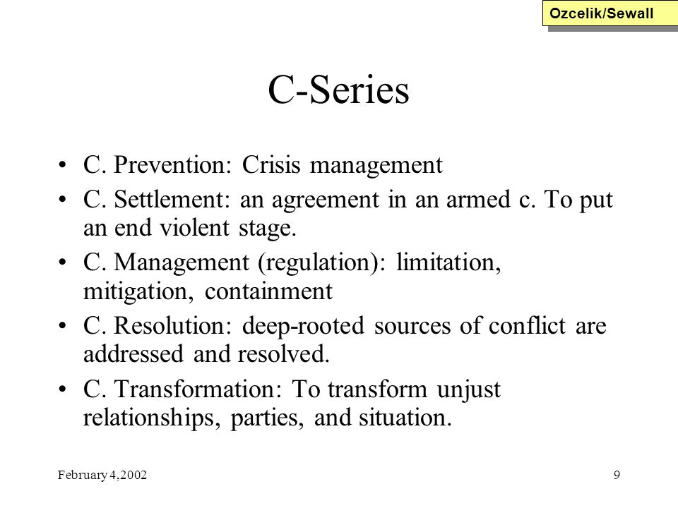 C-Series C. Prevention: Crisis management