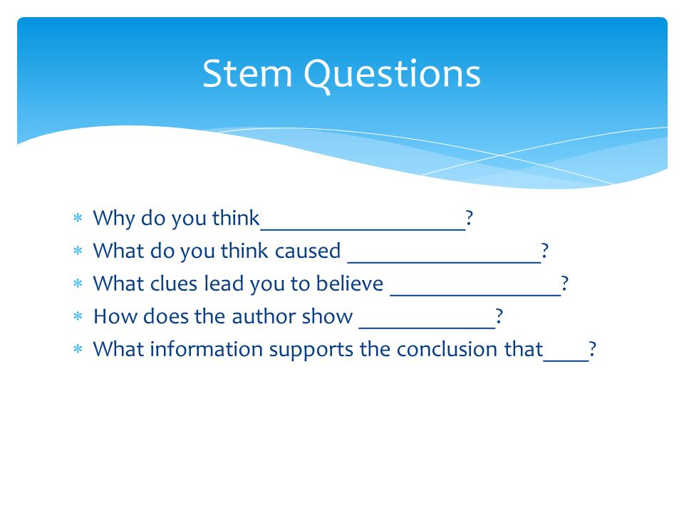 Stem Questions Why do you think__________________