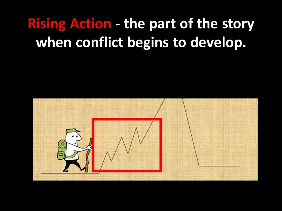 Rising Action - the part of the story when conflict begins to develop.