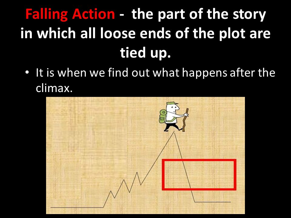 Falling Action - the part of the story in which all loose ends of the plot are tied up.
