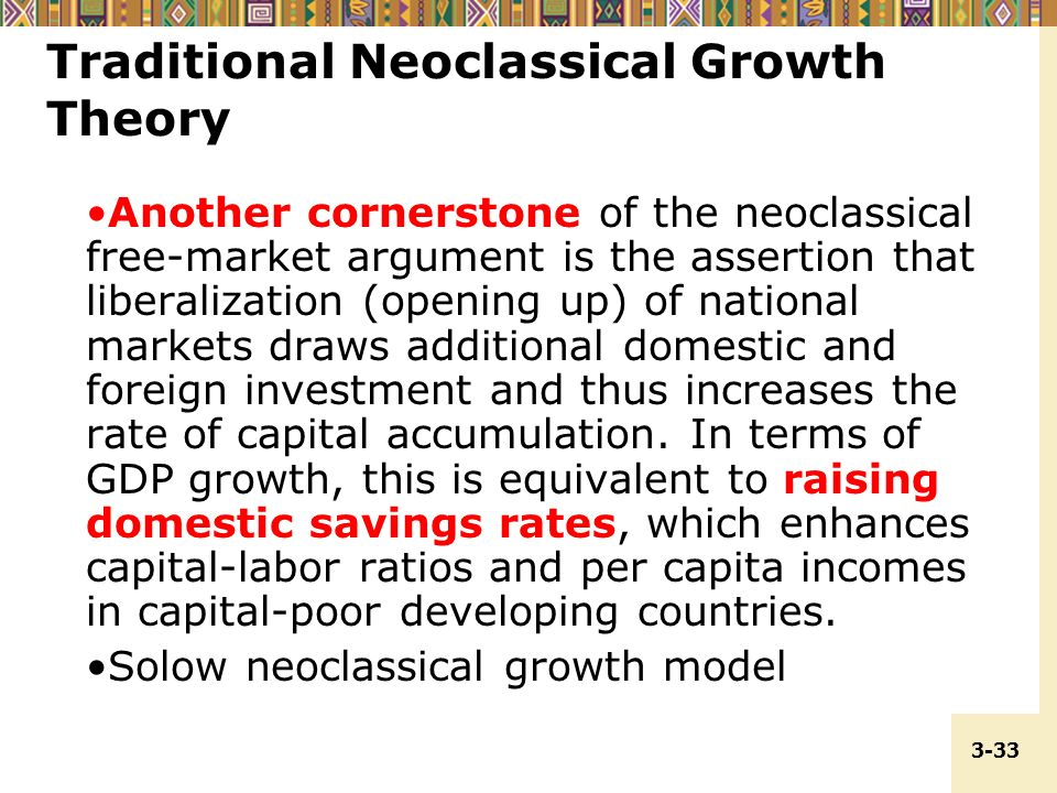 neoclassical theory of economic growth The solow-swan model of economic growth implications or predictions of the solow-swan model of growth: 1 neoclassical theory of economic growth.