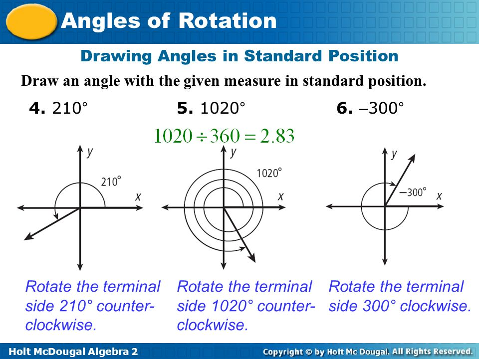 how to draw a negative angle in standard position