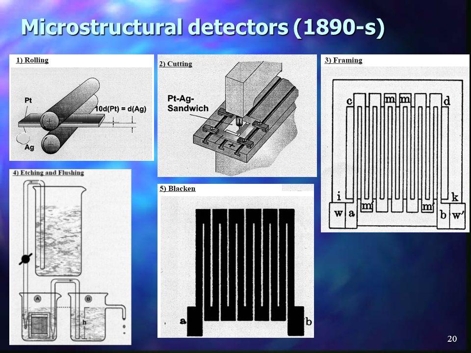 Microstructural detectors (1890-s)