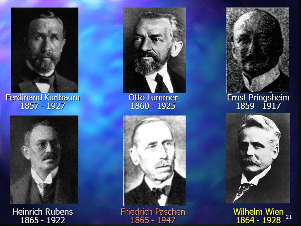Ferdinand Kurlbaum 1857 - 1927. Otto Lummer. 1860 - 1925. Ernst Pringsheim. 1859 - 1917. Heinrich Rubens.