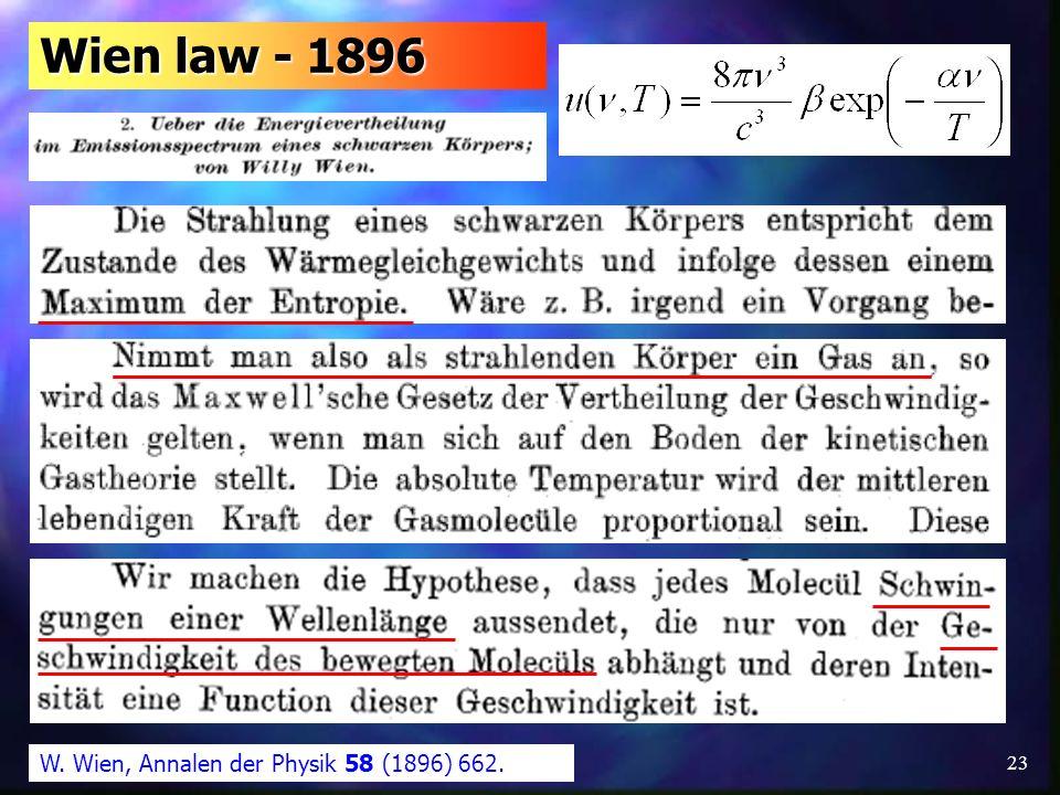 Wien law - 1896 W. Wien, Annalen der Physik 58 (1896) 662.