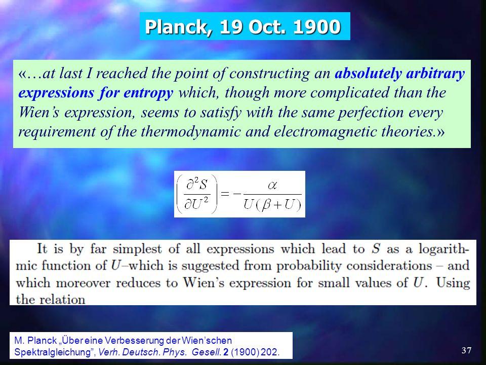Planck, 19 Oct. 1900