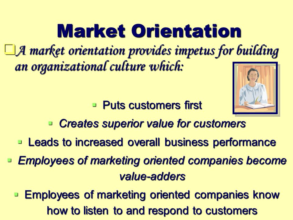market orientation assessment essay Market orientation is a company's alignment of strategies with business intelligence derived from assessing customer needs and competitor data.