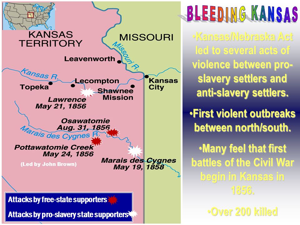 an analysis of bleeding kansas the violence over the kansasnebraska act Over the provisions of the kansas-nebraska bill as profoundly significant and  even  30–31 james m mcpherson, battle cry of freedom: the civil war era ( new york: ballantine books,  act and bleeding kansas, generally focusing on  the ideological reasons  frederick douglass's analysis of republican ideology  the.