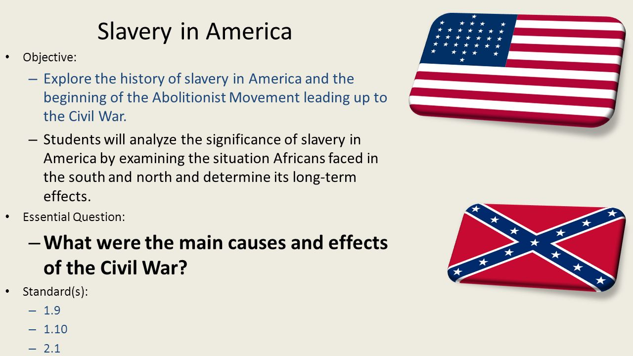 the beginning and end of slavery in america Timeline of slavery in america 1501-1865 colonial north america's slave trade begins when the first american slave carrier by the end of the year.