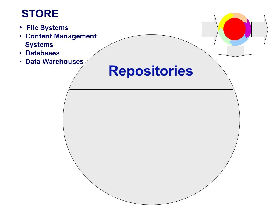 Repositories STORE File Systems Content Management Systems Databases