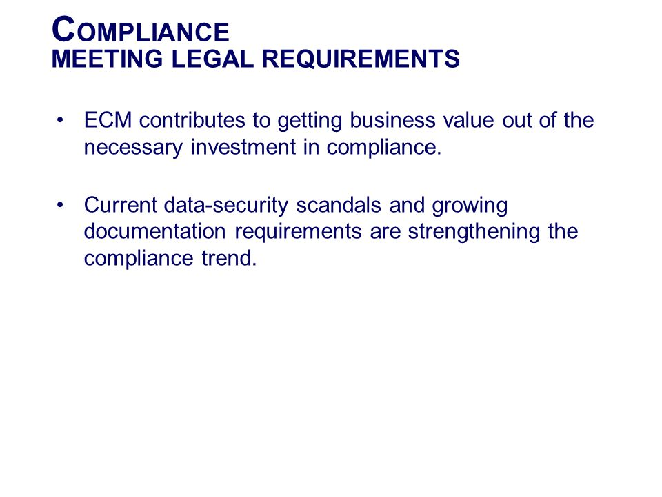 COMPLIANCE MEETING LEGAL REQUIREMENTS