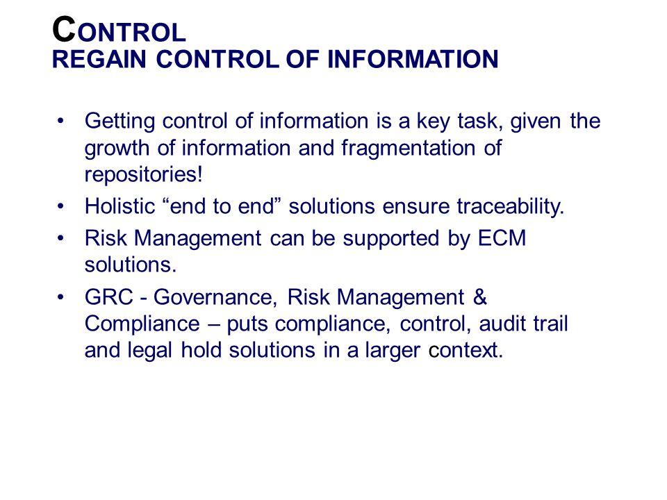 CONTROL REGAIN CONTROL OF INFORMATION