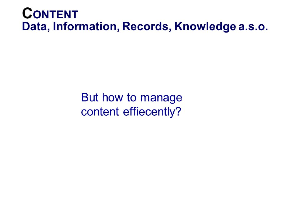 CONTENT But how to manage content effiecently