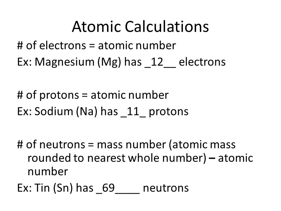The atom the periodic table ppt download 8 atomic calculations urtaz Image collections