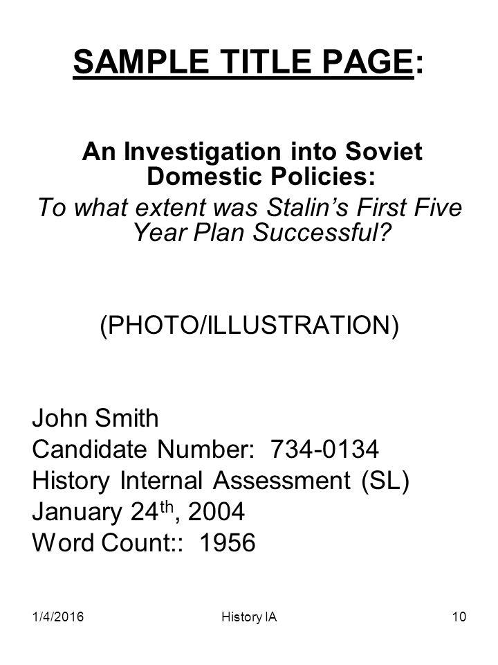 IB History Internal Assessment - ppt download