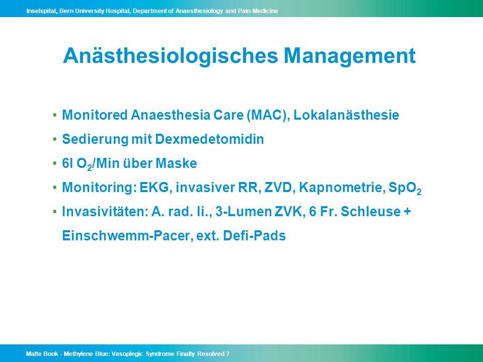 Anästhesiologisches Management