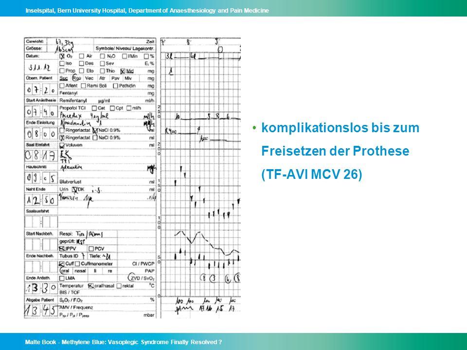 komplikationslos bis zum Freisetzen der Prothese (TF-AVI MCV 26)