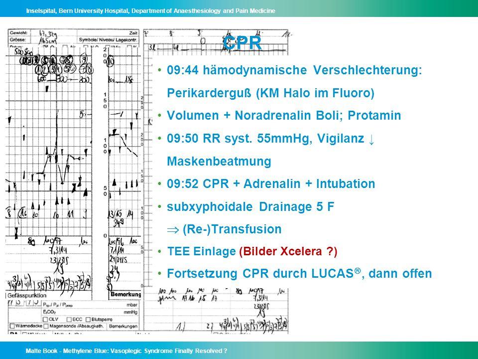 CPR 09:44 hämodynamische Verschlechterung: Perikarderguß (KM Halo im Fluoro) Volumen + Noradrenalin Boli; Protamin.