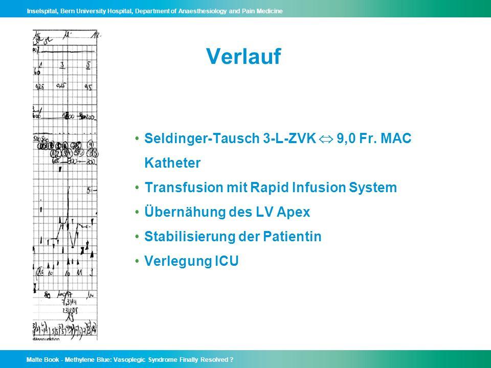 Verlauf Seldinger-Tausch 3-L-ZVK  9,0 Fr. MAC Katheter