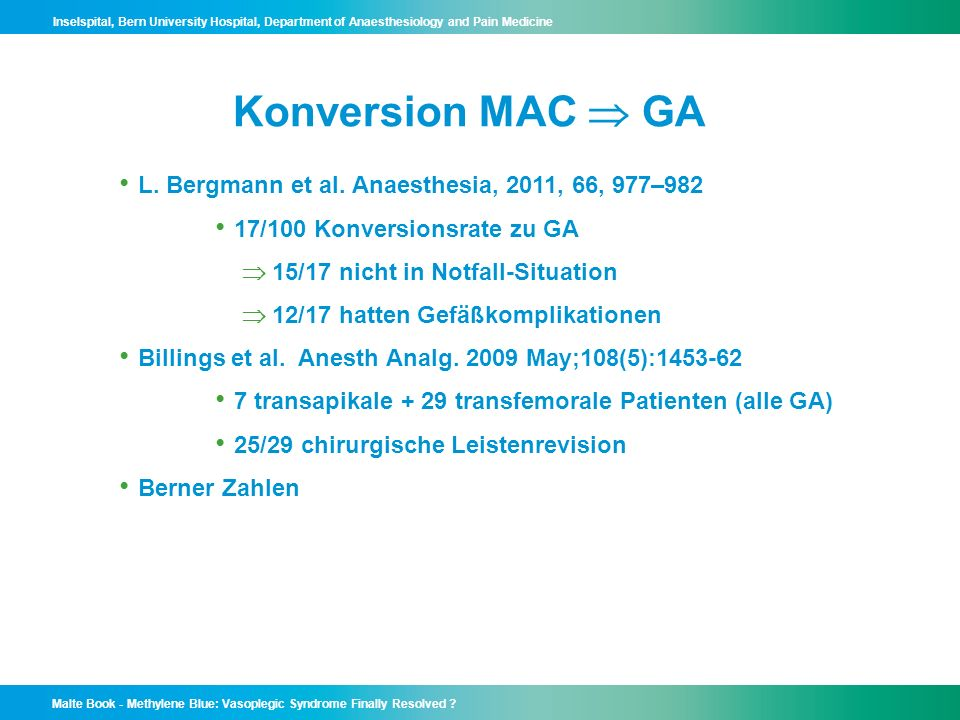 Konversion MAC  GA L. Bergmann et al. Anaesthesia, 2011, 66, 977–982