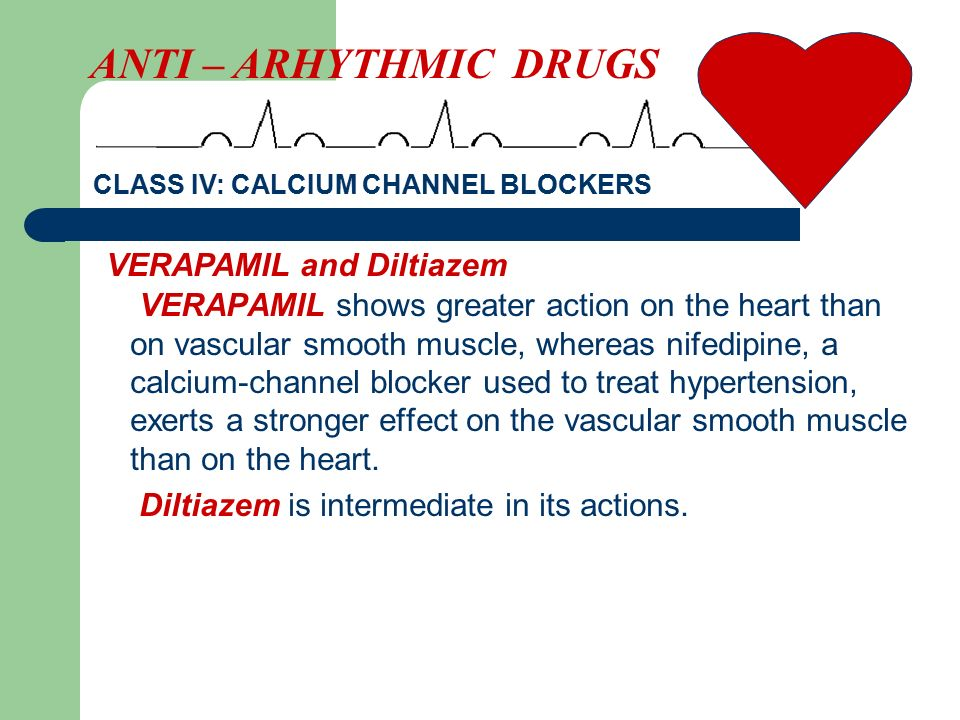 ANTI – ARHYTHMIC DRUGS VERAPAMIL and Diltiazem