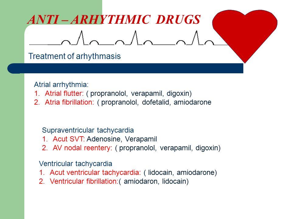 ANTI – ARHYTHMIC DRUGS Treatment of arhythmasis Atrial arrhythmia: