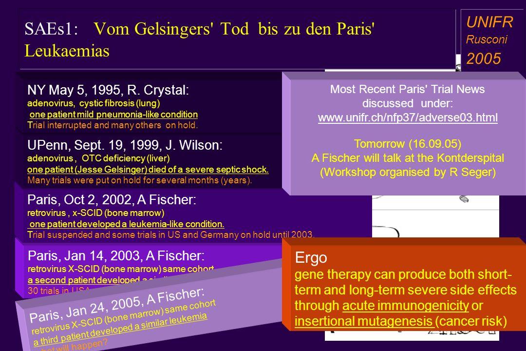 SAEs1: Vom Gelsingers Tod bis zu den Paris Leukaemias