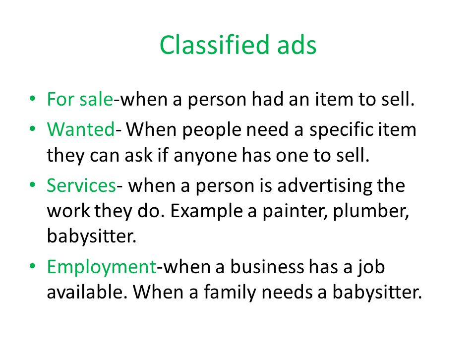 Find A Babysitter Job With A Classified Job Ad