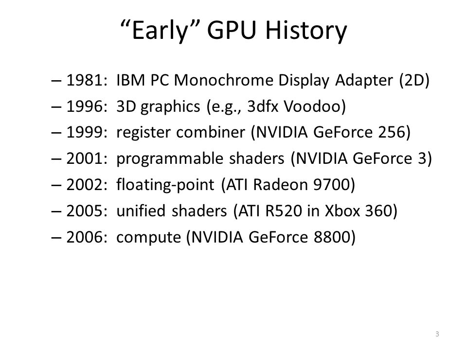 Early GPU History 1981: IBM PC Monochrome Display Adapter (2D)
