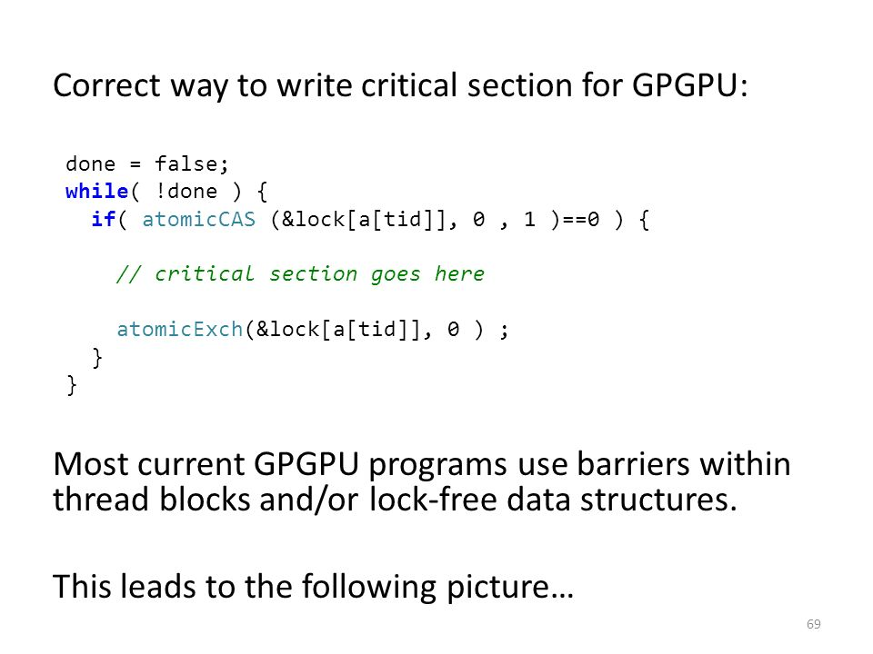 Correct way to write critical section for GPGPU: