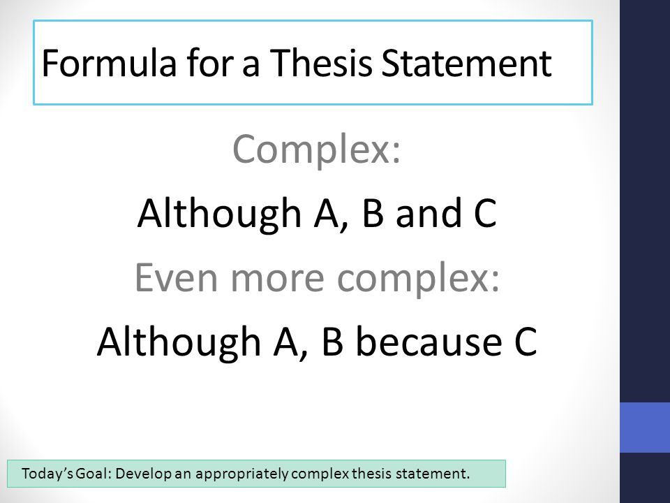 simple thesis statement formula