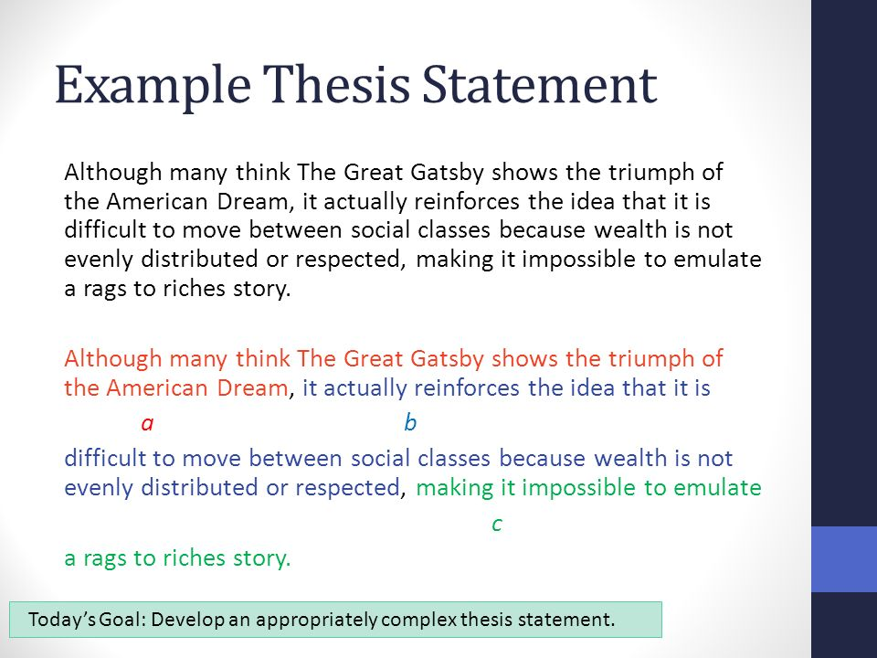 synthesis essay thesis statements benchmark ppt video online  6 example thesis statement