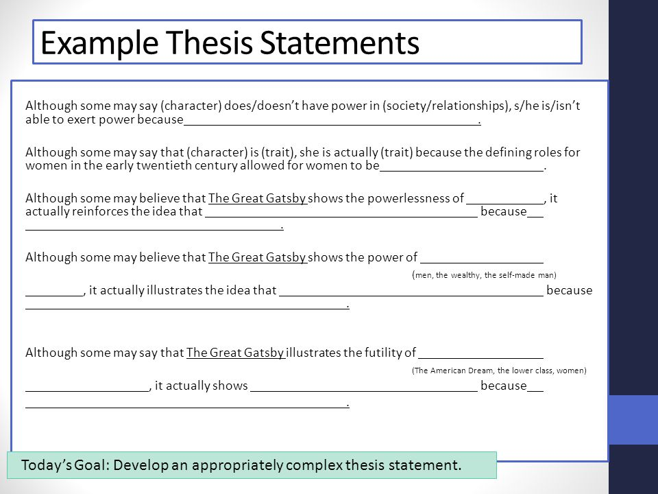 great gatsby research paper thesis statement Good great gatsby thesis statements-books - great gatsby - thesis statement - english language the great gatsby essays: examples, topics, questions losing focus in your paper without a clear question and thesis choose one direction for the great gatsby and elaborate upon it by providing.