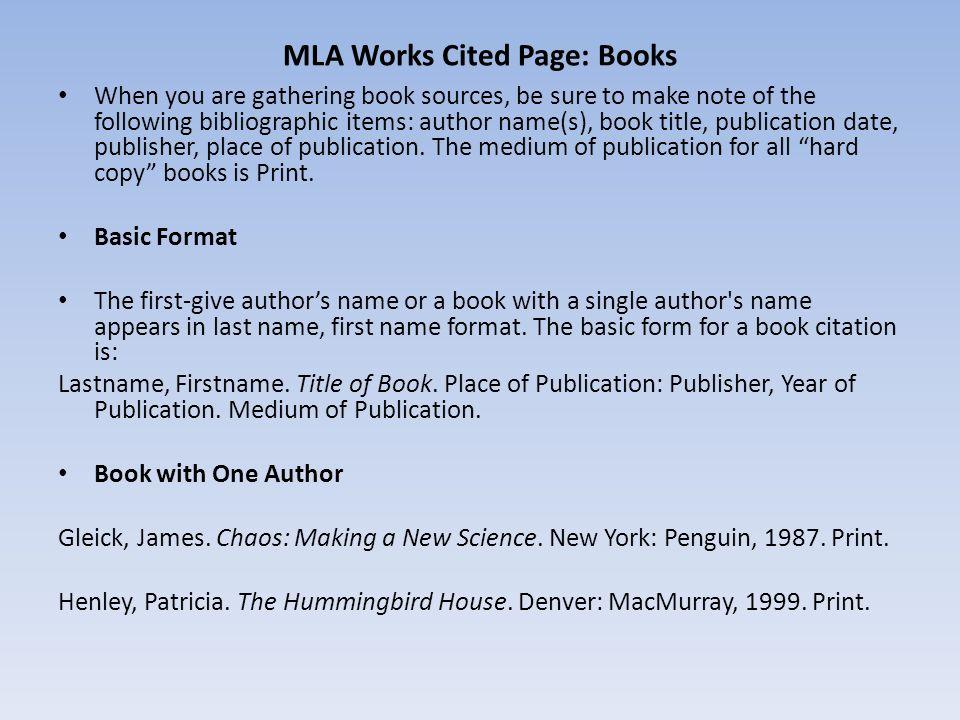 work cite page mla