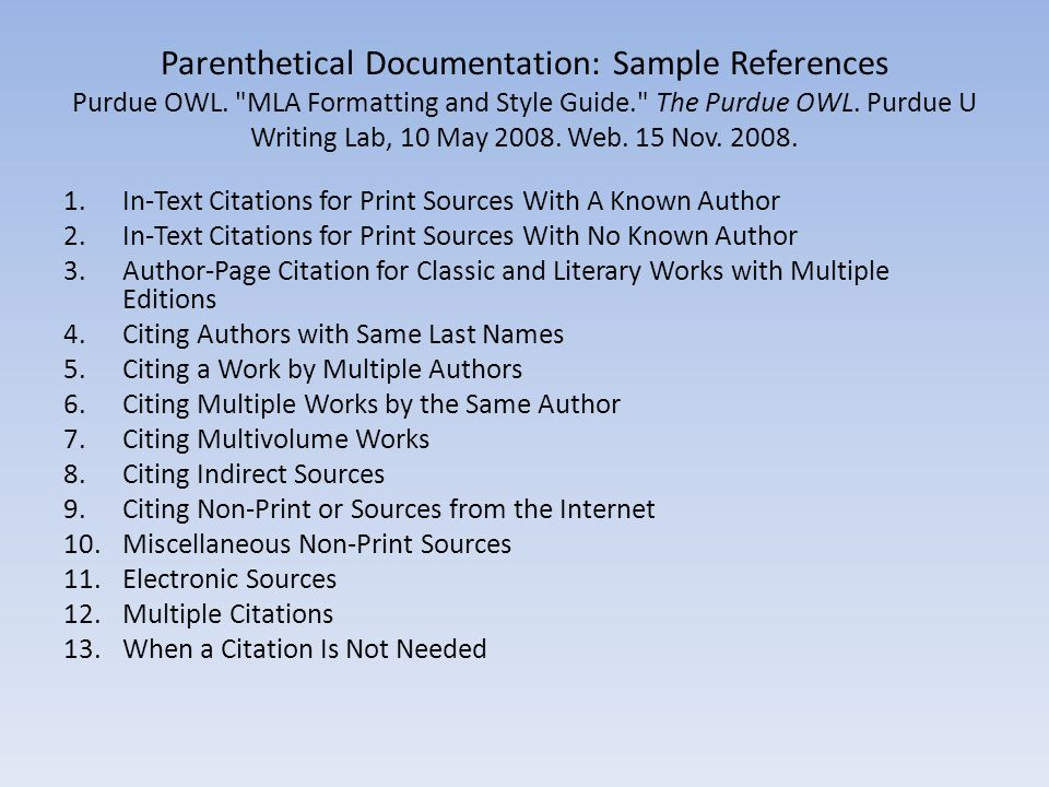 owl at purdue research paper mla Guidelines for preparing and formatting mla the purdue owl family of sites 26 aug 2005 examples for the general format of mla research papers.