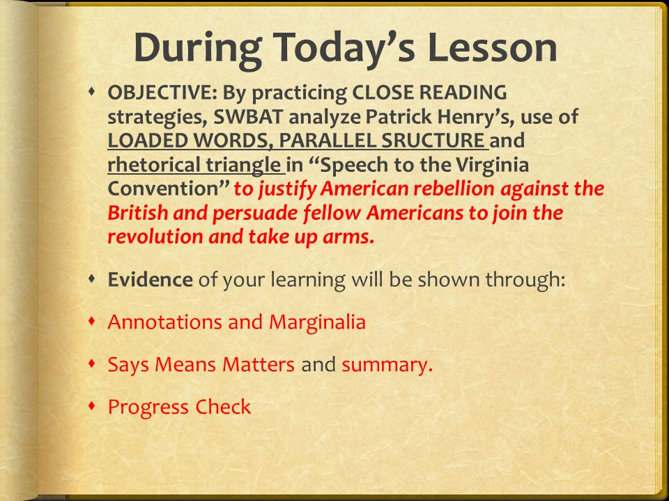 the rhetorical tactics in patrick henrys speech to the virginia convention