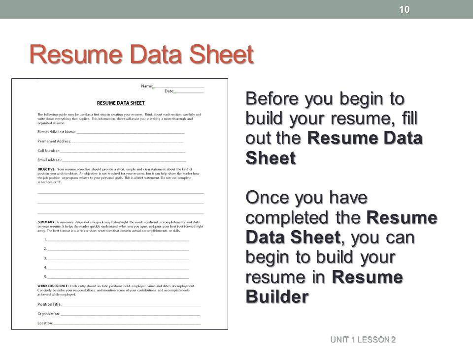 Resume Data Sheet  How To Fill Out Resume