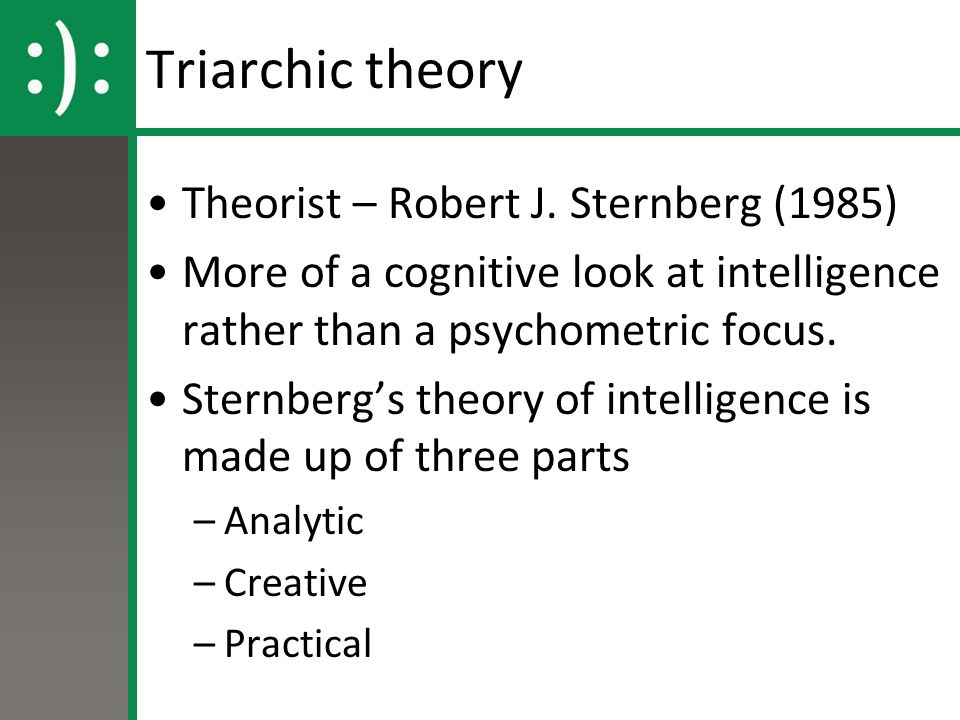 theory of multiple intelligences and sternbergs triarchic theory education essay Robert sternberg is an american psychologist and professor who is best known for his sternberg's triarchic theory of multiple intelligences in the.