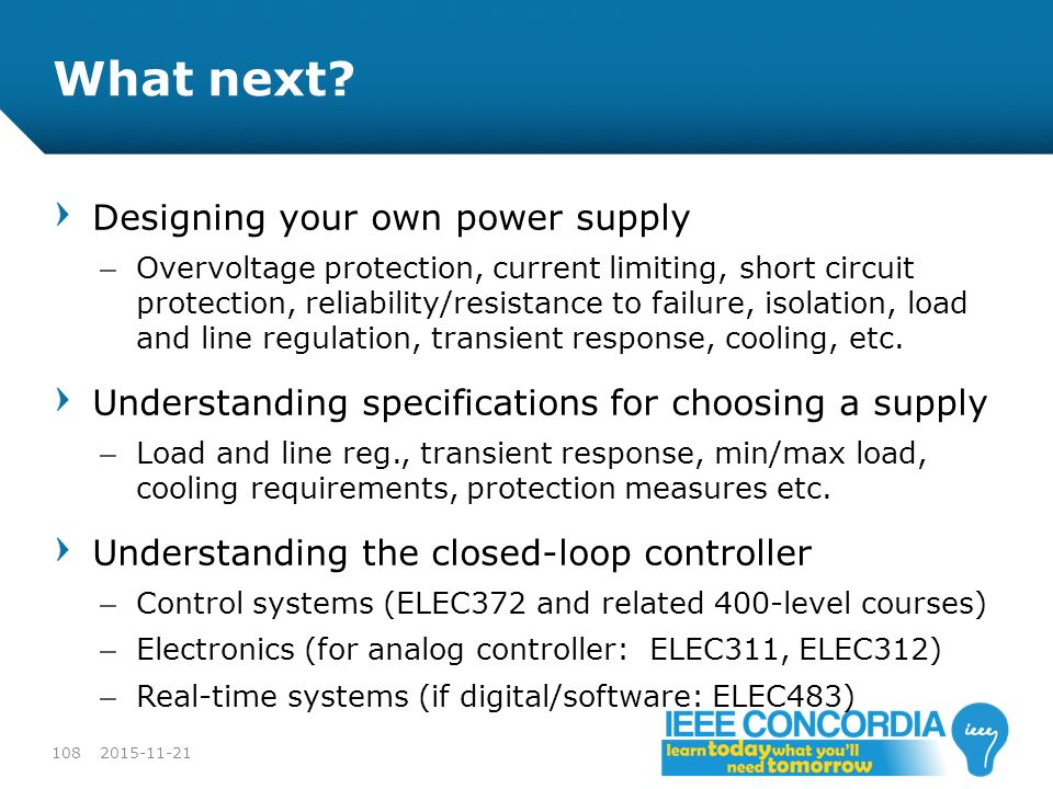 What next Designing your own power supply