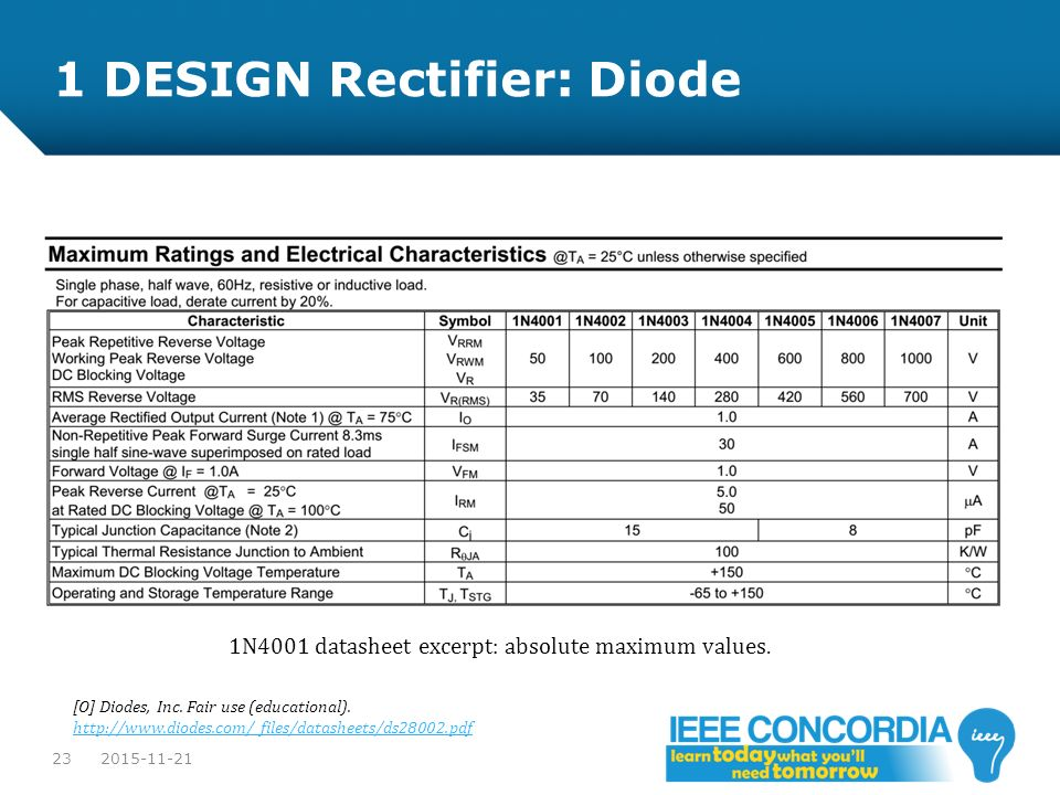 1 DESIGN Rectifier: Diode