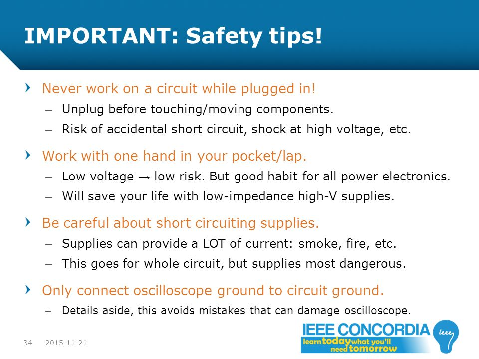 IMPORTANT: Safety tips!
