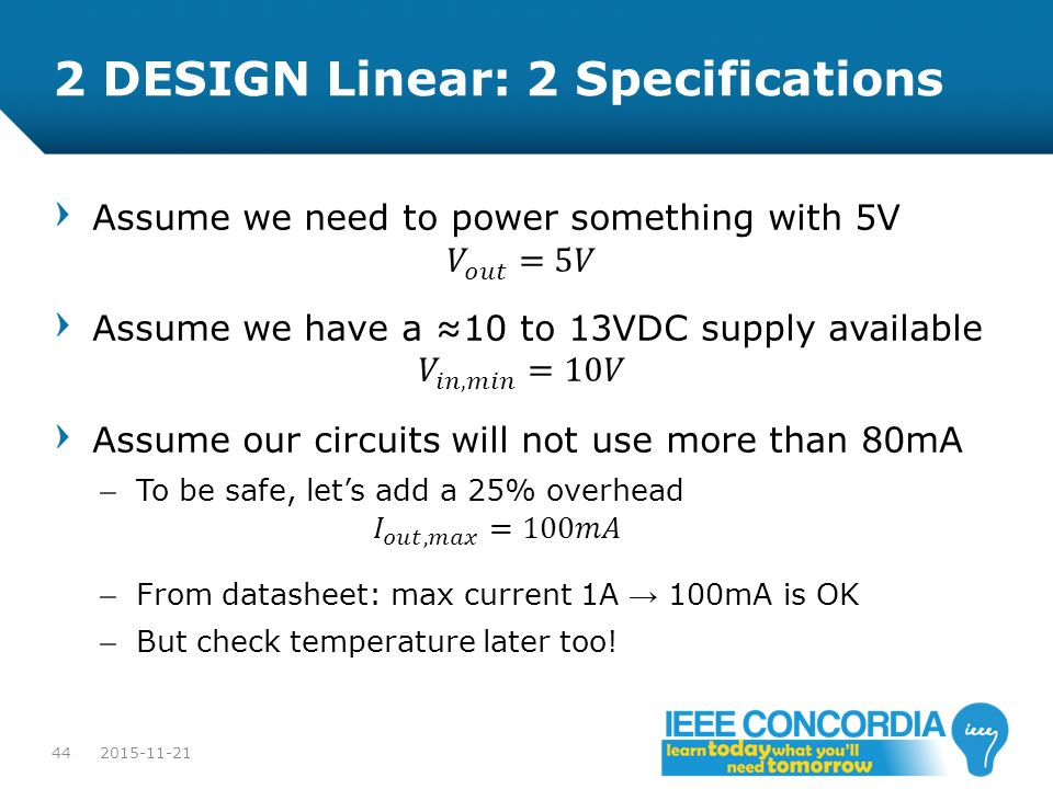 2 DESIGN Linear: 2 Specifications
