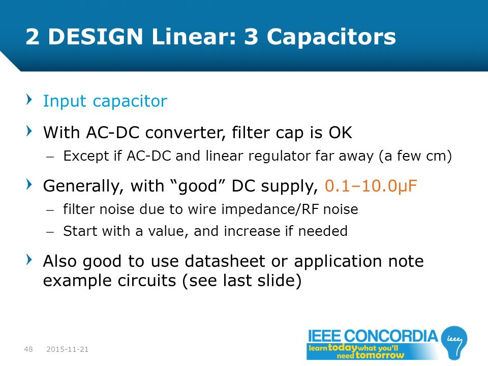 2 DESIGN Linear: 3 Capacitors