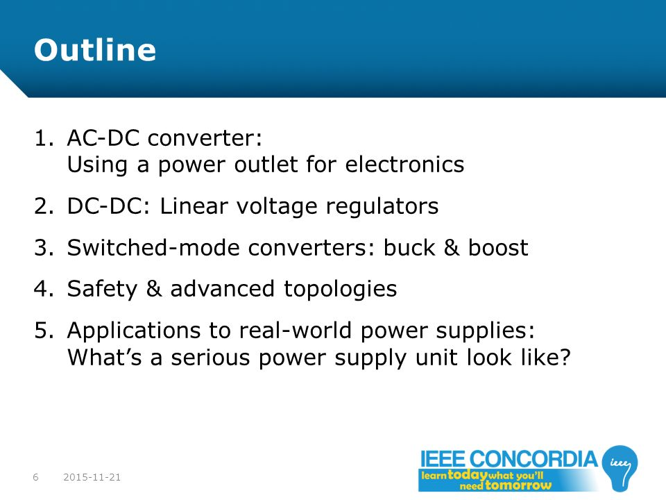 Outline AC-DC converter: Using a power outlet for electronics