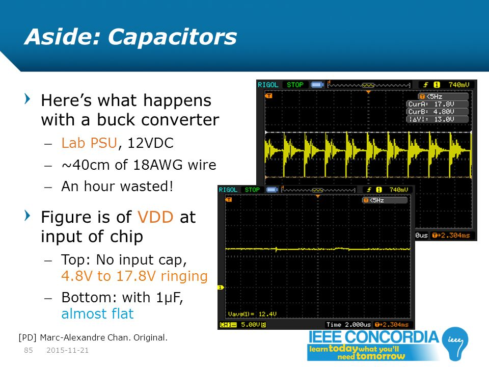 Aside: Capacitors Here's what happens with a buck converter